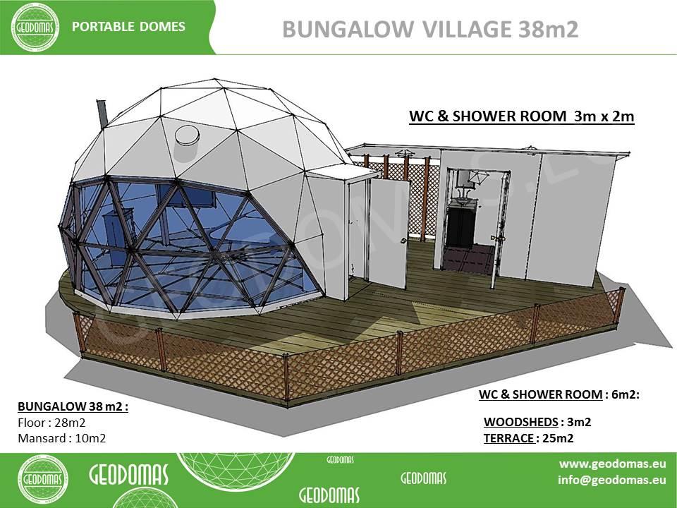 Dôme géodésique Glamping Village 38m2