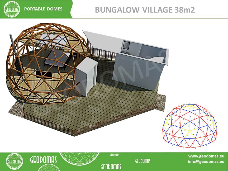 Dôme géodésique Bungalow Village 38m2