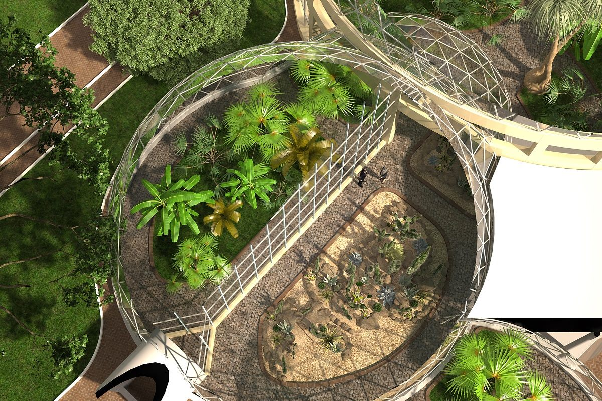 Transparent Geodesic Domes for Tropilac Plants Gardens