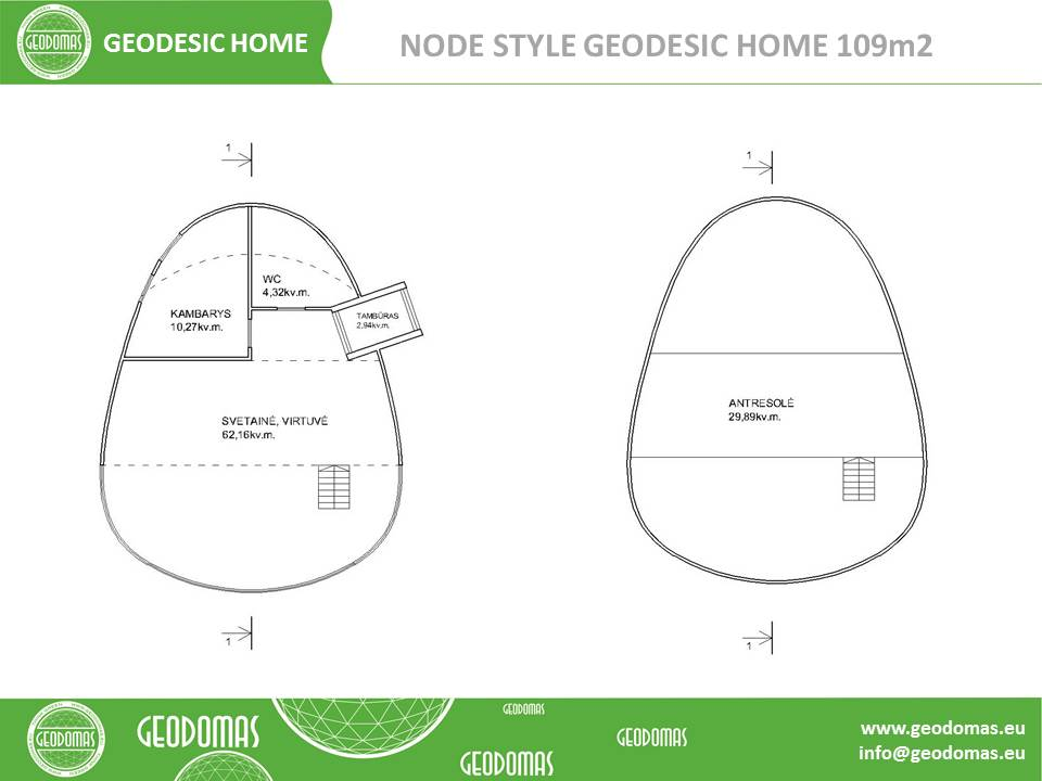 Wood Geodesic Home 109m2 Node Concept