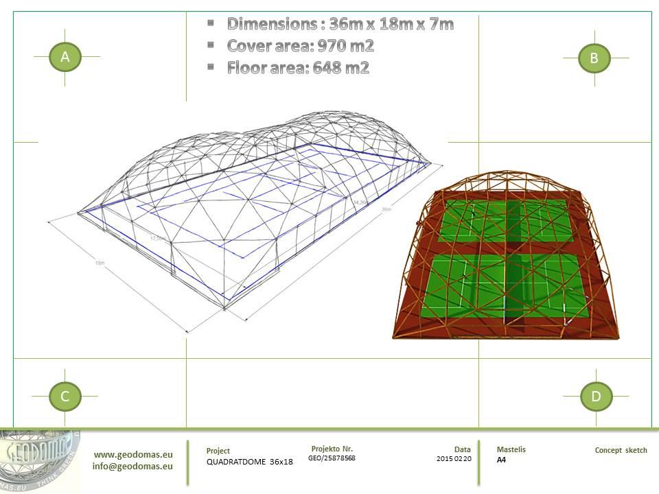 QUADRATDOME Geodesic Domes Tennis Court Cover