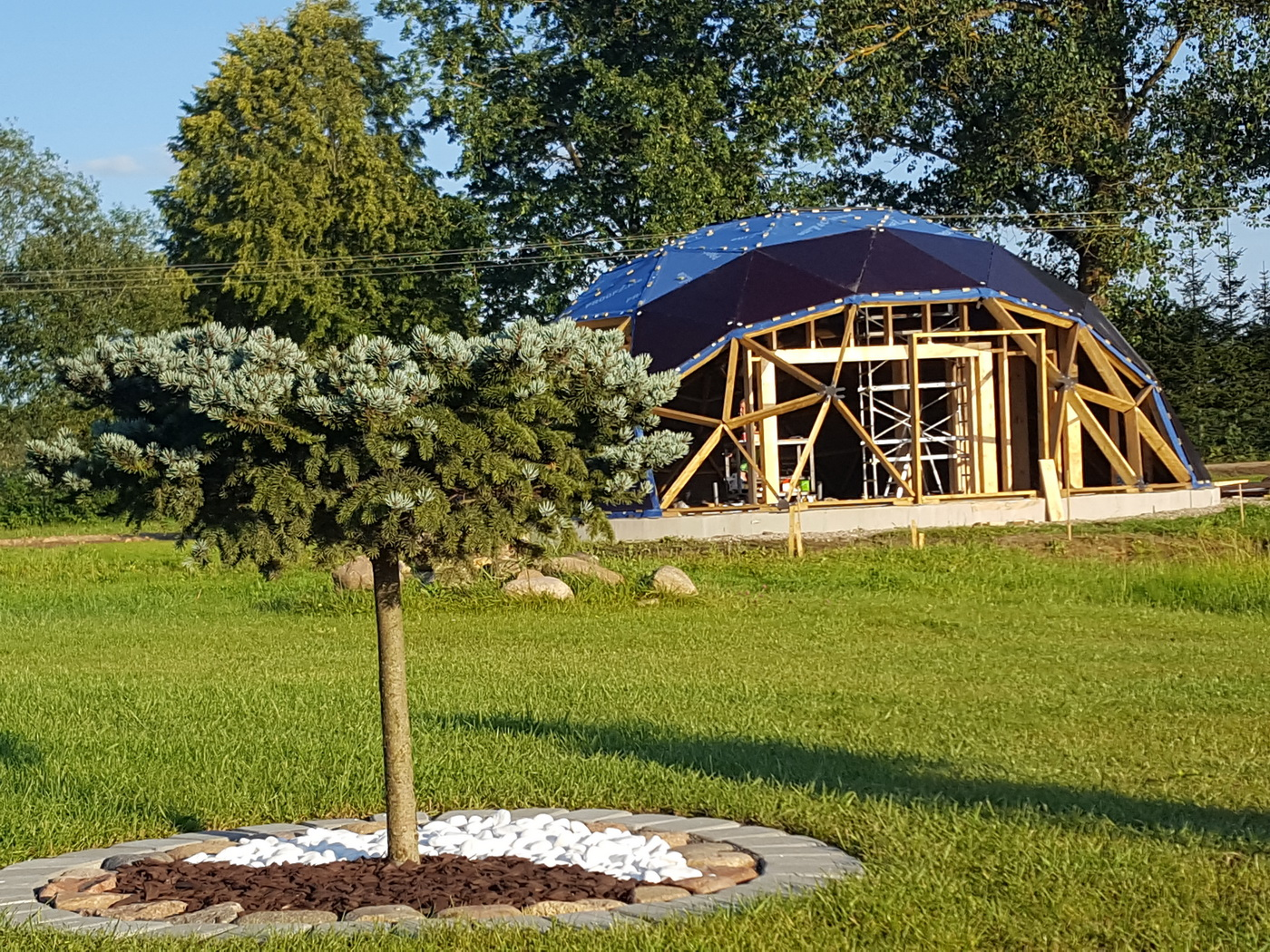 Wooden guest geodesic house 125m2 with sauna Ø12m, Širvintai , Lithuania