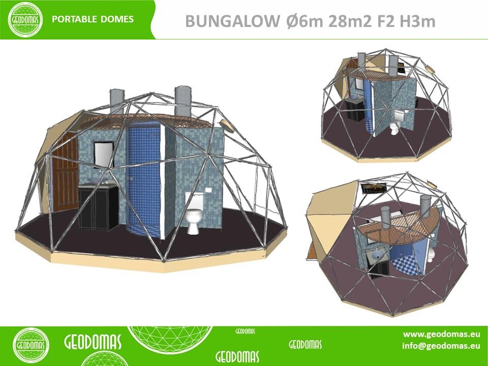 Glamping 28m2 Ø6m F2 avec WC & Douche à l'intérieur
