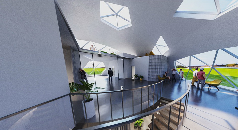 470m2+Loft Office building | Ø20m H10m F6 Dome | Vilnius