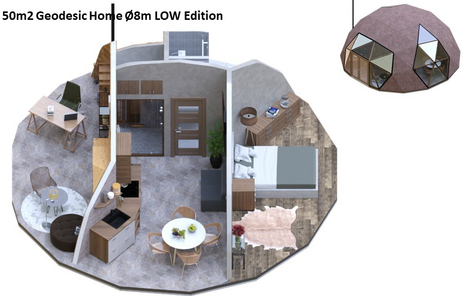 50m2 Geodesic Home Ø8m LOW Edition | Dome building Kit's