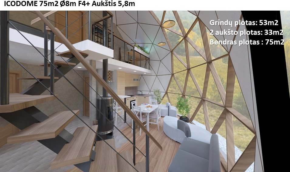 75m2 Family Geodesic House Ø8m Height 5,8m